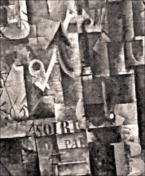 """Détail d'une toile de Picasso dans laquelle es mentionnée """"les Soirées de Paris"""". Photo: PHB/LSDP"""