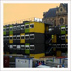 Abris de chantier sur le chantier des Halles. Photo: PHB/LSDP