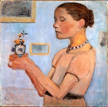 Paula Modersohn-Becker (1876-1907) Jeune fille tenant des fleurs jaunes dans un verre 1902, détrempe sur carton, 52 x 53 cm Kunsthalle Bremen-Der Kunstverein in Bremen, Brême © Paula-Modersohn-Becker-Stiftung, Brême