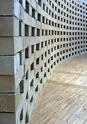 Terres revalorisées en briques. Exposition au Pavillon de l'Arsenal. Photo: PHB/LSDP