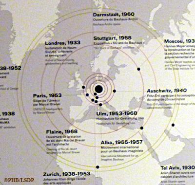 Détail de la carte montrant l'essaimage du style Bauhaus. Photo: PHB/LSDP