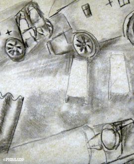 Détail d'un dessin de Zadkine au front. Photo: PHB/LSDP