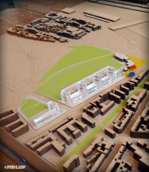 Maquette de la barre d'immeubles en projet bd Poniatowski